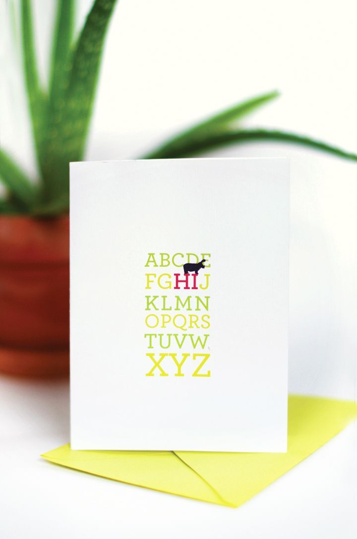 Hi Alphabet Card Printable little monster