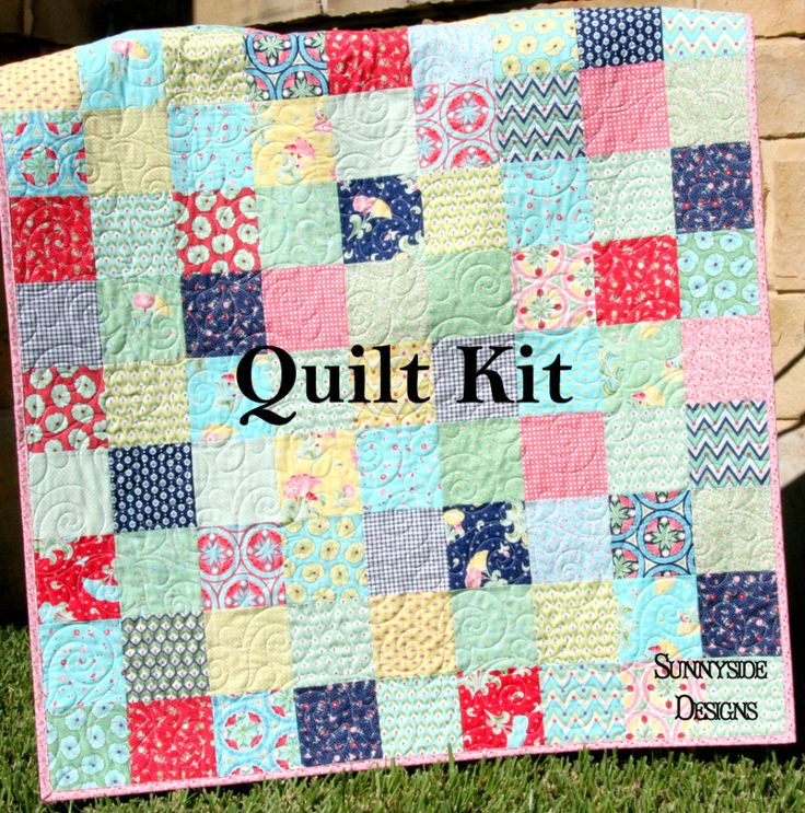 Vintage Baby Quilt Kit Pedal Pushers Aqua Flowers Simple