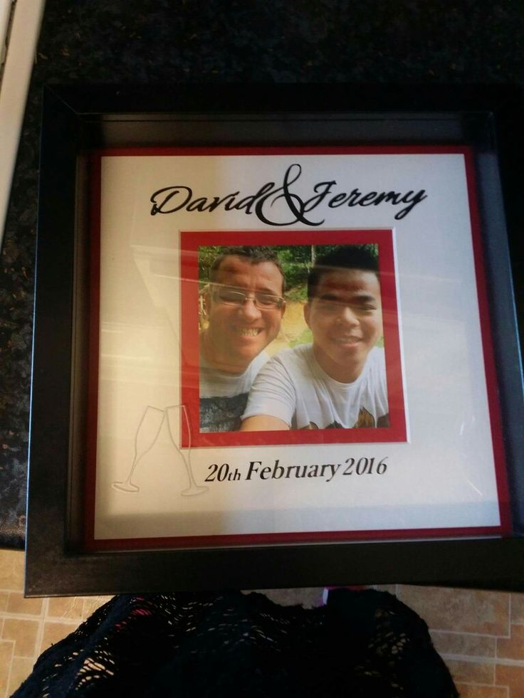 Mr and Mr, same sex marriage gift frame. With photo, names, wedding date in black frame trimmed with white and red. https://www.facebook.com/Thorny-Tree-Gifts-972127826132391/