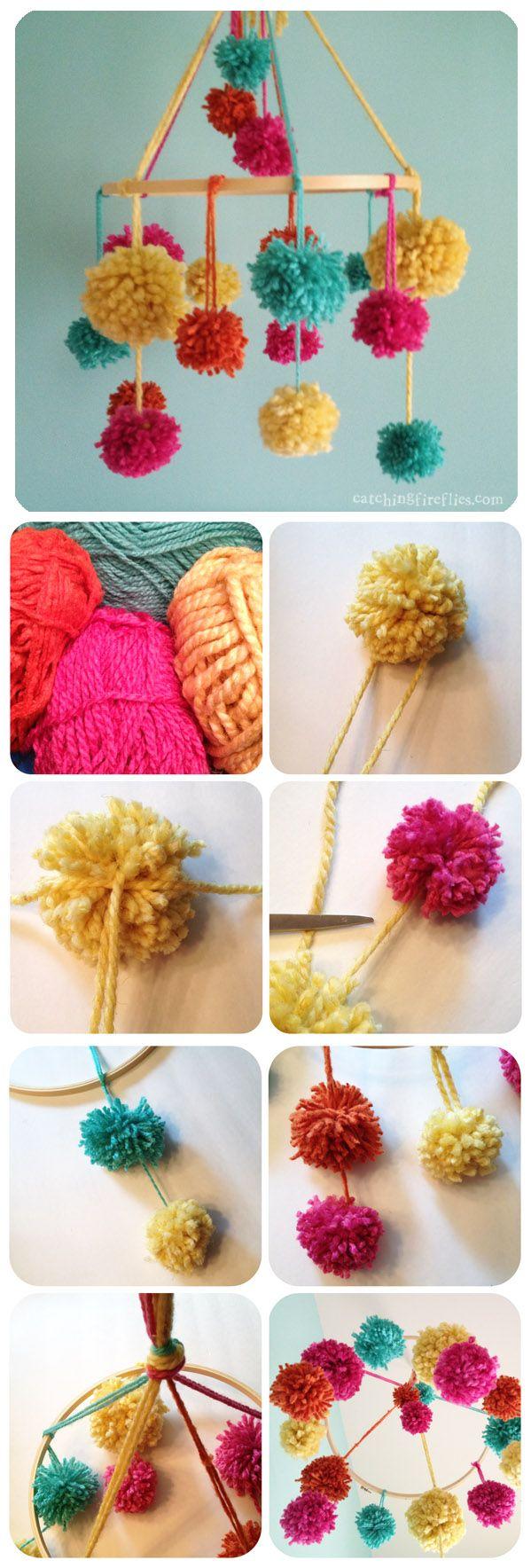 pennants, posies and pom poms - pom pom baby mobile tutorial, cute nursery ideas, diy mobile for girls room