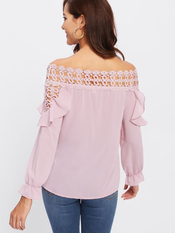 Shop Hollow Out Crochet Insert Frill Top online. SheIn offers Hollow Out Crochet Insert Frill Top & more to fit your fashionable needs.
