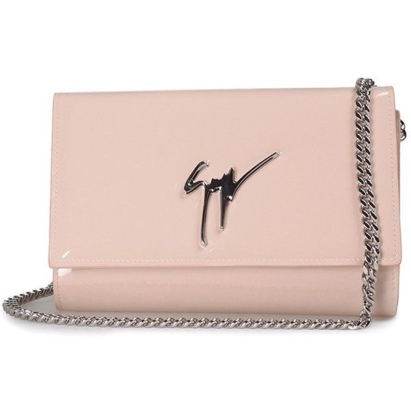Giuseppe Zanotti Lory Patent-Leather Clutch Bag found on Polyvore featuring bags, handbags, clutches, nude, pink handbags, nude handbags, patent leather handbags, pink clutches and patent leather purse