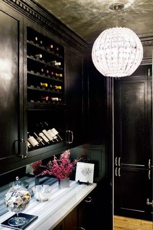 glamorous black butler's pantry with wine storage - the wine display shelf is perfect for your best bottles