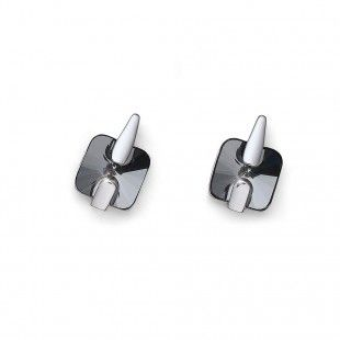 Oliver Weber Women front black silvernight earrings rhodium with Swarovski Crystals