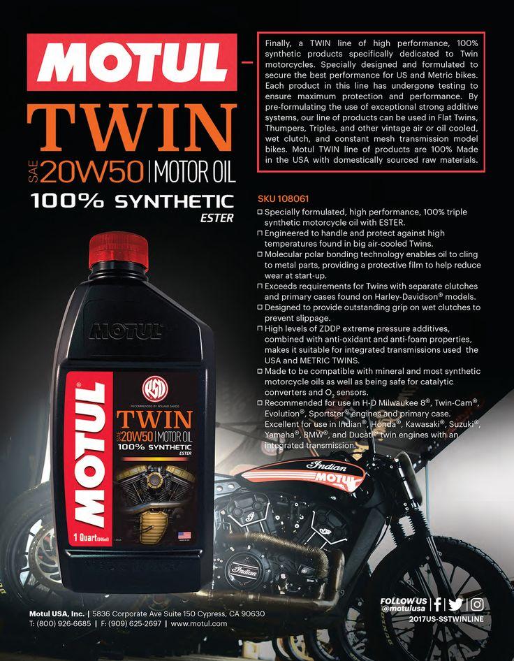 Motul TWIN 100% Synthetic Motor Oil. Grade 20W50.