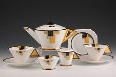 Deco tea set designed by Clarice Cliff