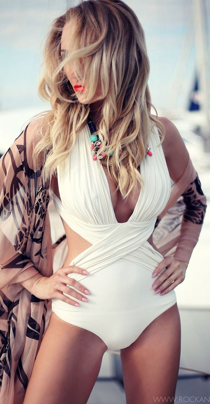 Maria Lucia Lohan White Halter Crisp Criss Cross Drape Swimsuit Visit my site Real Techniques brushes makeup -$10 http://youtu.be/Ekd8siFfdNA #bikini