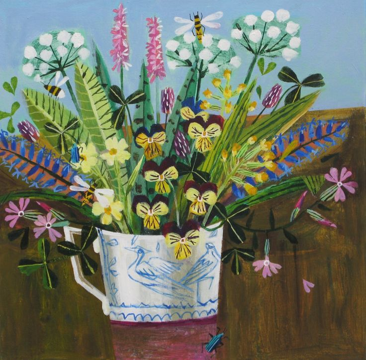'Wild Flowers and Beetles' 40x40cms £525 - Mary Sumner