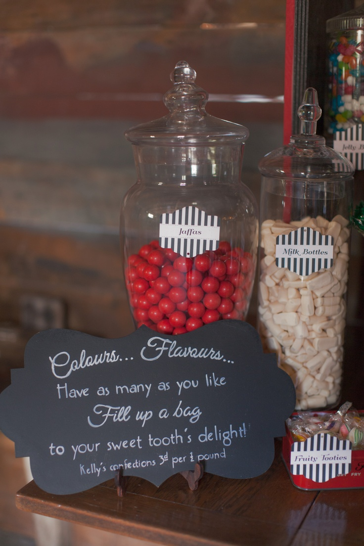 A simple small ornate shaped blackboard designed by Vintage & Pretty to instruct guests on how to use the candy shop.    Photography by Candy Capco