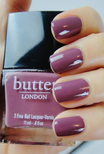 "Polishes I Own (no. 66): Butter London ""Toff"" - Darker than it looks in the bottle, it's a very bruisy-looking purple creme. Excellent color for fall and winter."