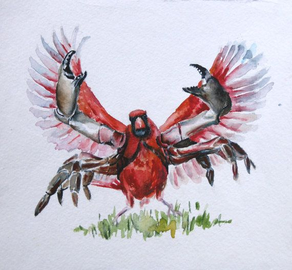 C is for Crabinal. Original Watercolor of by TheFineToothedComb