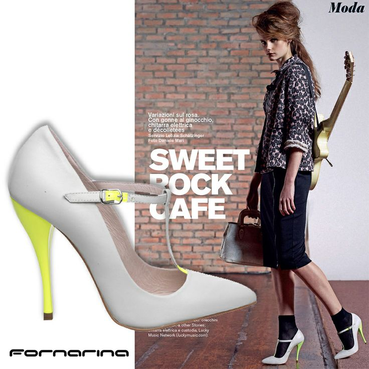 #Stiletto #heels in nude color and fluo details...what else? Get crazy for these new #Fornarina #Tbar #decolletè.