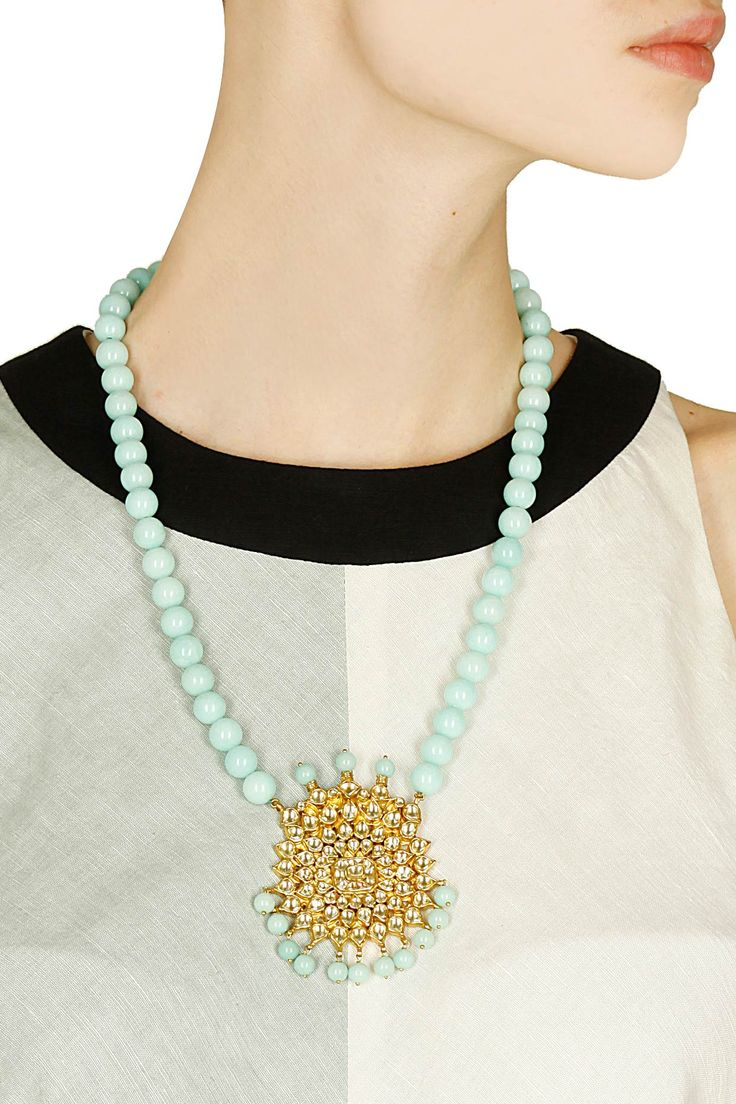 Gold finish kundan pendant necklace with blue beads string available only at Pernia's Pop Up Shop.