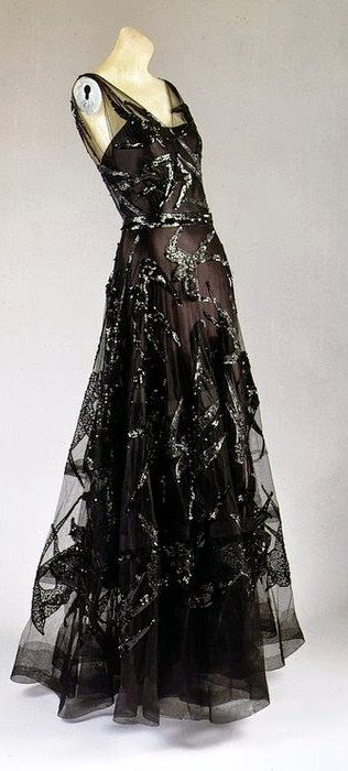 ~Madeleine Vionnet dress - 1938 - Black silk satin and black silk net embroidered with black sequins~ The Metropolitan Museum of Art