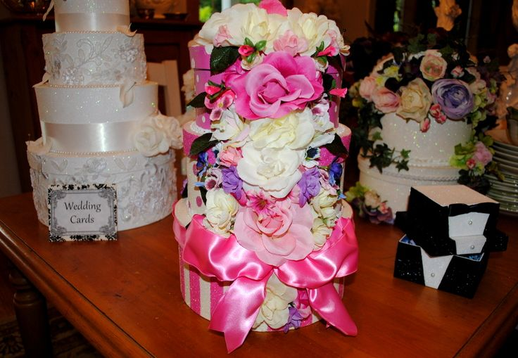 """Wedding Card Reception Box - 3 tier - polka dots, stripes, glitter base with lots of flowers cascading down to front. For a more """"fun"""" wedding reception where formalities are put to the side and the fun shines through! 10"""" x 9"""" x 8"""". CUSTOM DESIGNS TOO!!     #Weddingcardboxes"""