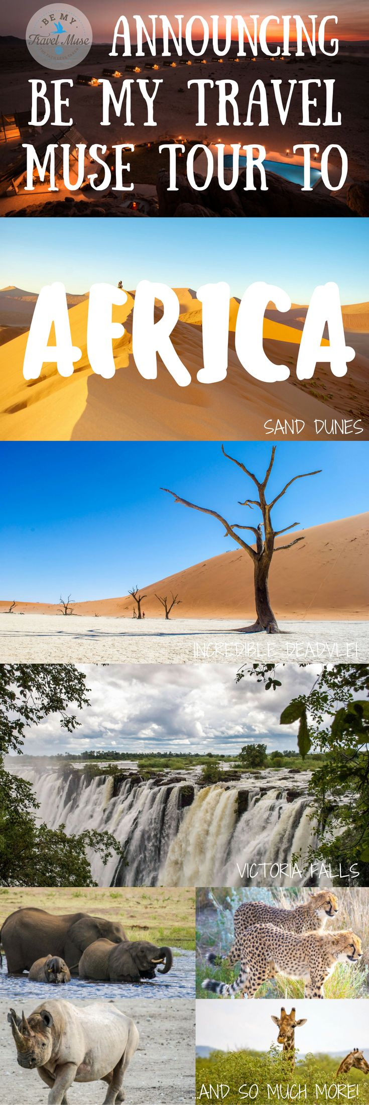 Announcing Be My Travel Muse Tour to Africa in October 2018! Picture rolling sand dunes of the brightest orange, more incredible wild animals than you've ever seen in one place before, and the gorgeous blue of the Okavango Delta. It's all waiting for you on this amazing all-women's adventure trip to Africa. Click for more details | Be My Travel Muse #Africa #Travel