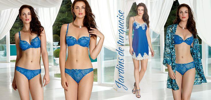 Námořnická modrá v podání Lise Charmel!Prádlo s jemným vyšíváním v barevných tónech modré. Hedvádná košilka s luxusní kontrastní krajkou v krémové barvě.