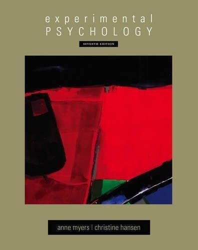Experimental Psychology 7th Edition Myers/Hansen PSY 301 Hardcover FREE SHIP #Textbook