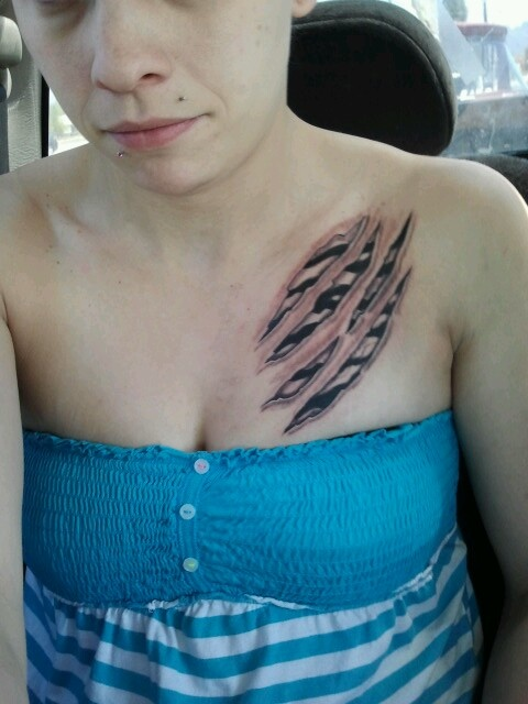 Zebra print scratch tattoo #zebra #tattoo. This is actually me right after I got the tattoo.