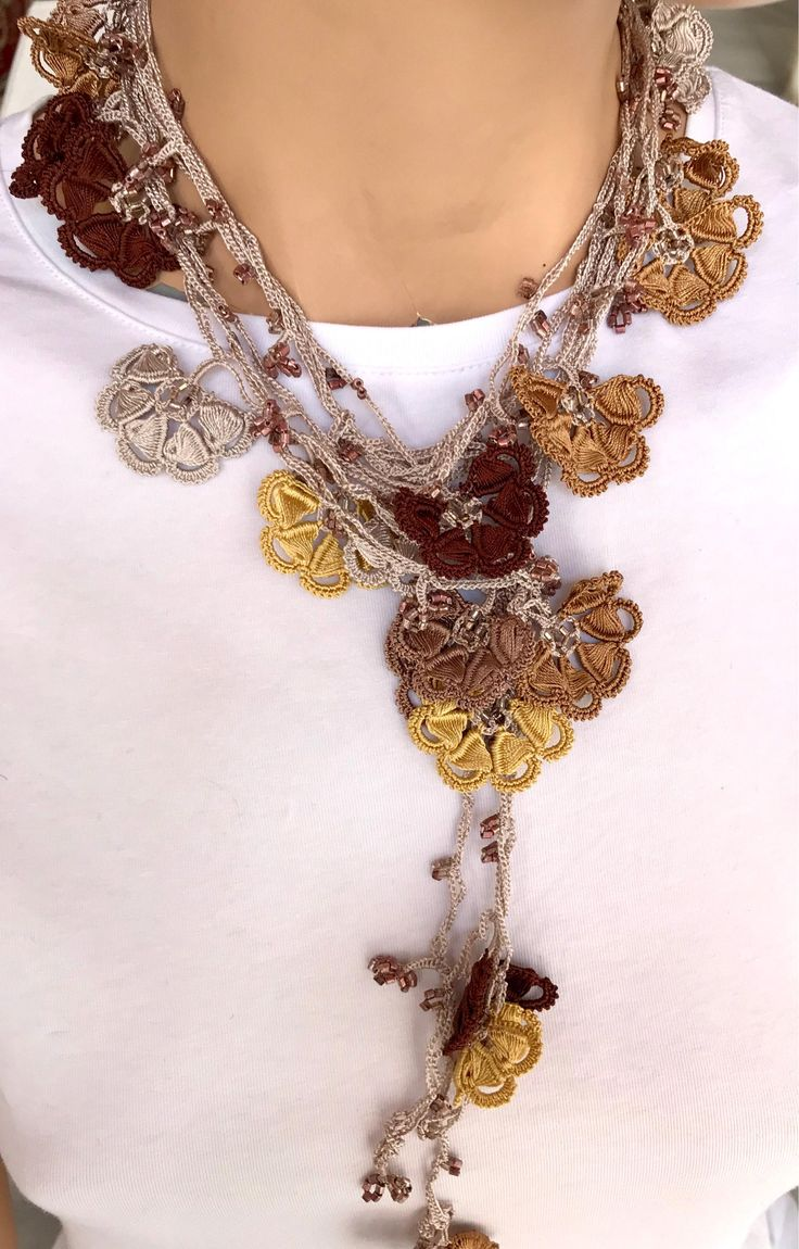 women beige necklace, brown flower, crochet, extra large lariat, girl accessory, christmas gift, big women accessory,4 meter(157''), natural by BendisGalata on Etsy