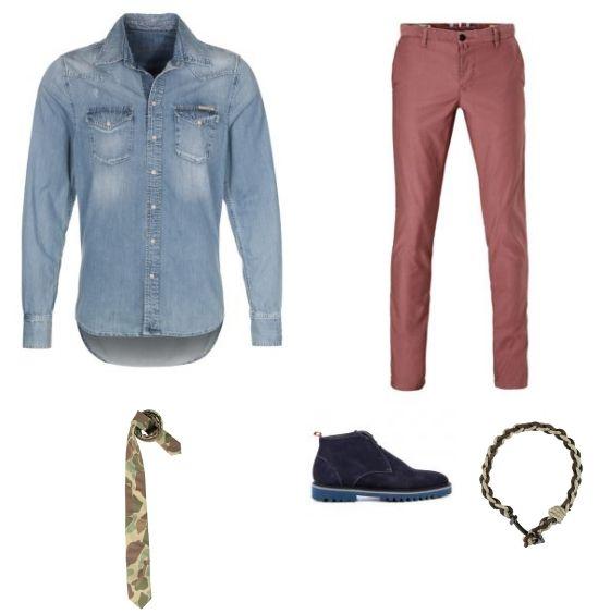 Blauwe Look outfit - Vrijetijdskleding - Deze look is chic maar toch casual. De rode broek van H.E. by Mango en de spijkerblouse van Pepe Jeans vormen een mooie combinatie. De schoenen van Floris van Bommel passen mooi bij de blouse. De stropdas van Jc-rags met camouflage print maakt het geheel formeel op een speelse manier.