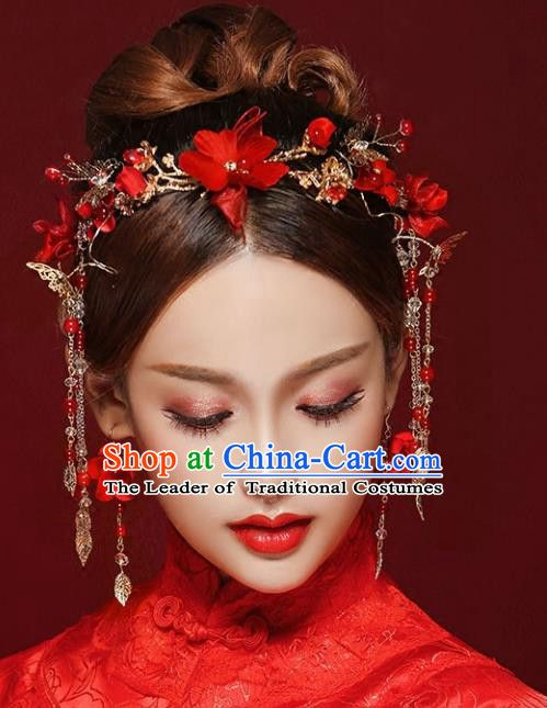 aecb417a0 Chinese Traditional Bride Hair Jewelry Accessories Palace Xiuhe Suit Red  Flowers Hairpins Wedding Tassel Phoenix Coronet for Women