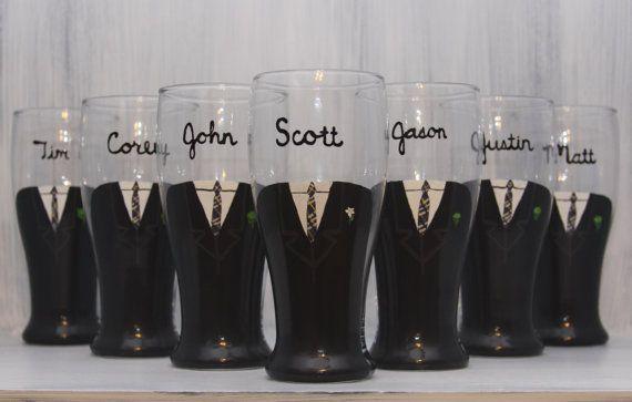 Groomsmen painted pilsner glasses