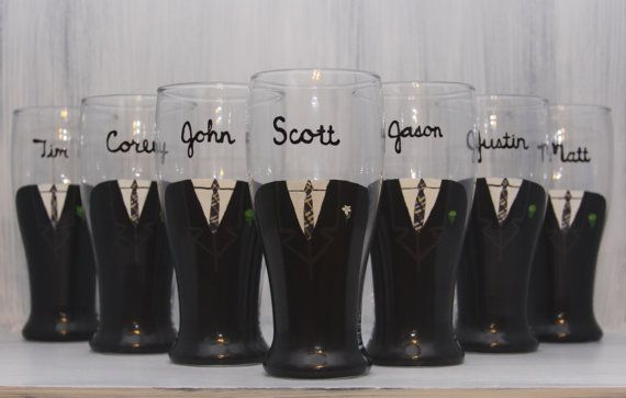 Groomsmen painted pilsner glasses
