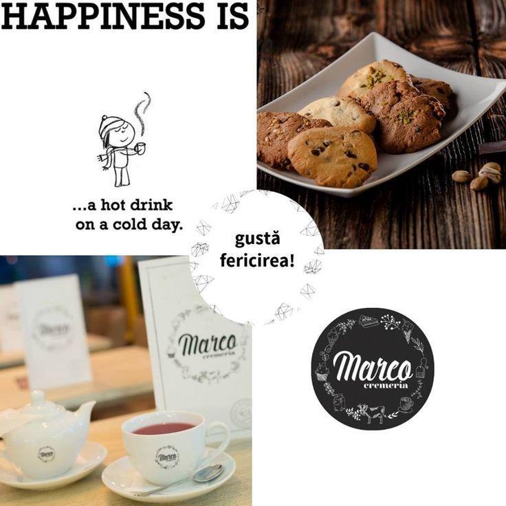 Într-o zi friguroasă, fericirea o găsești într-o cană cu ceai aromat și câțiva biscuiți delicioși de casă. La Cremeria Marco! #biscuiti #ceai #pitesti