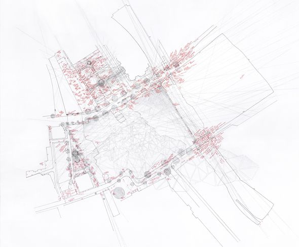 Larisaa Fassler- schlossplatz I, 2013 Notes, observations, light levels, the angles of tourists' photos, measurements in footsteps, and 'der Berg' mapped onto site.