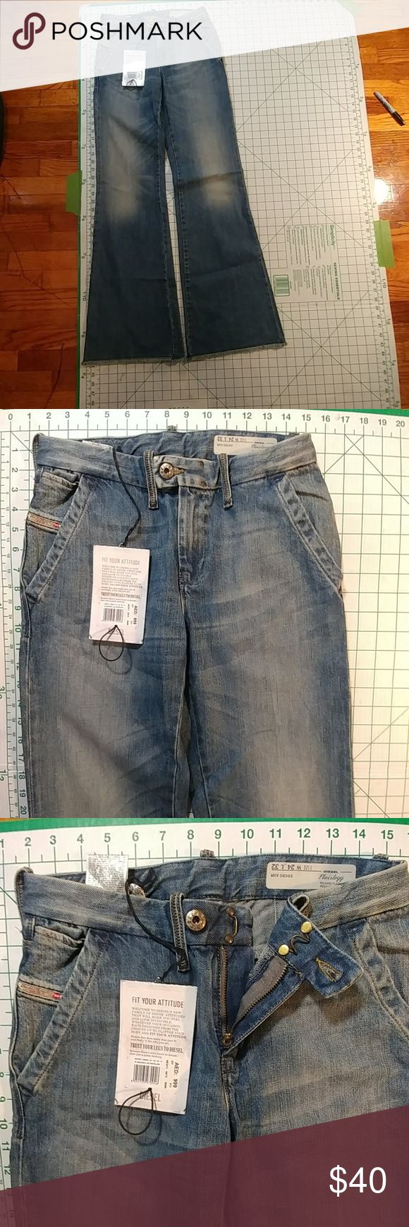 NWT Diesel NWT diesel women's jeans flare leg size 24x32. Please look at the sizes on pics I provided I took pic of waist and of inseam. Diesel Jeans Flare & Wide Leg