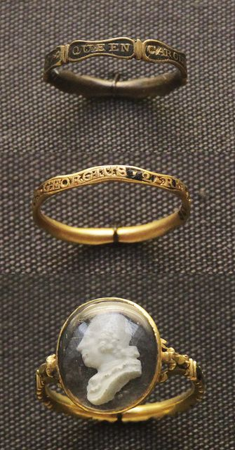 Memorial Rings for Queen Caroline (1683-1737), George II (1727-60), and Frederick, Prince of Wales (1707-51). Via the British Museum.