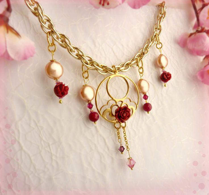 Elegantissima ed arricchita da Perle Rose Peach Swarovski! Parure Red Rose