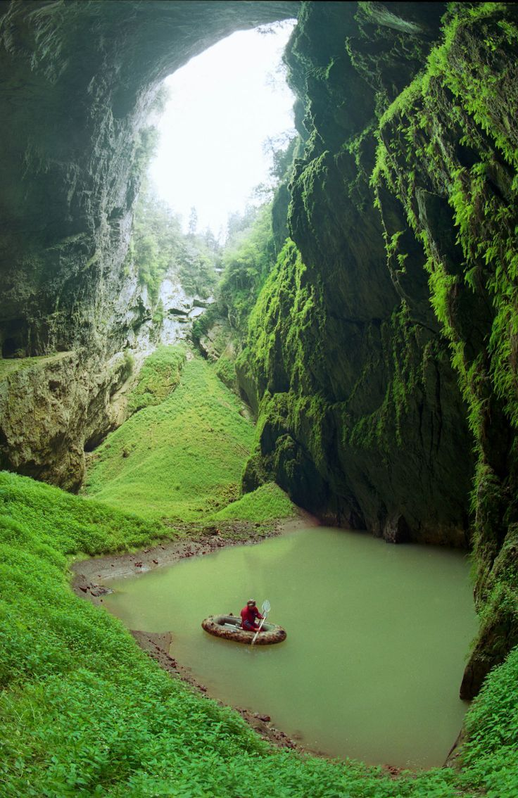 The Macocha Abyss is a sinkhole in the Moravian Karst cave system of the Czech Republic