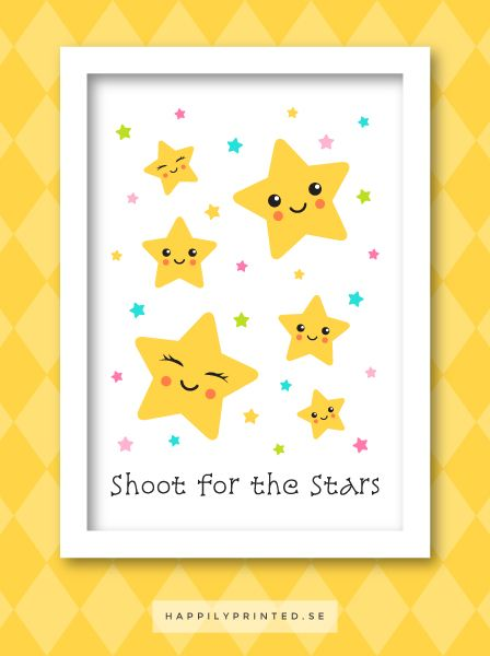 """Sikta mot stjärnorna, barntavla med söta stjärnor och engelsk text """"shoot for the stars"""". Fin väggdekor i barnrum"""