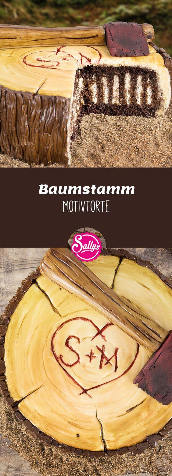 Schokoladenwickeltorte mit Kaffeebuttercreme, mit Fondant und Modellierschokolade dekoriert als Baumstamm.