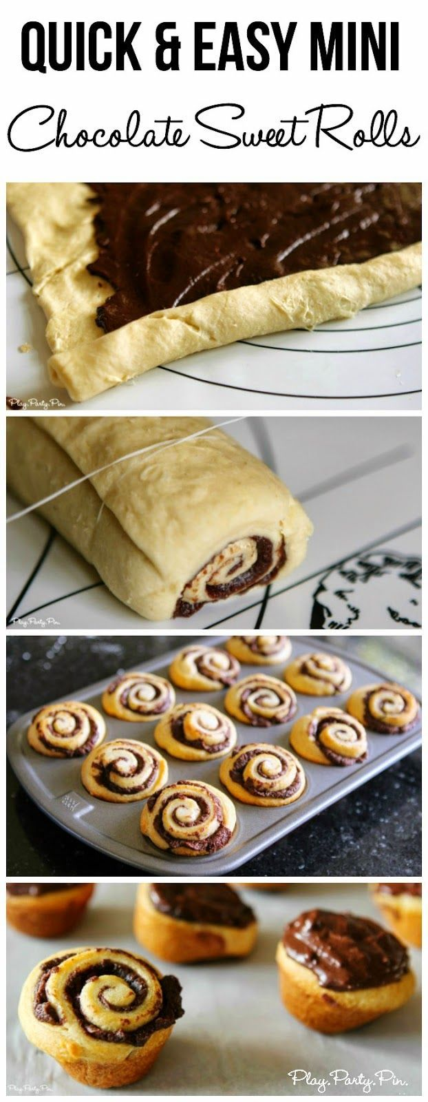 Mini chocolate sweet rolls made in under 20 minutes from playpartypin.comChocolate Pastry, Chocolates Sweets, Chocolates Rolls, Chocolates Filling, Ads Chocolates, Chocolate Sweets, Chocolate Roll Recipe, Breakfast Recipe, Diy Chocolates