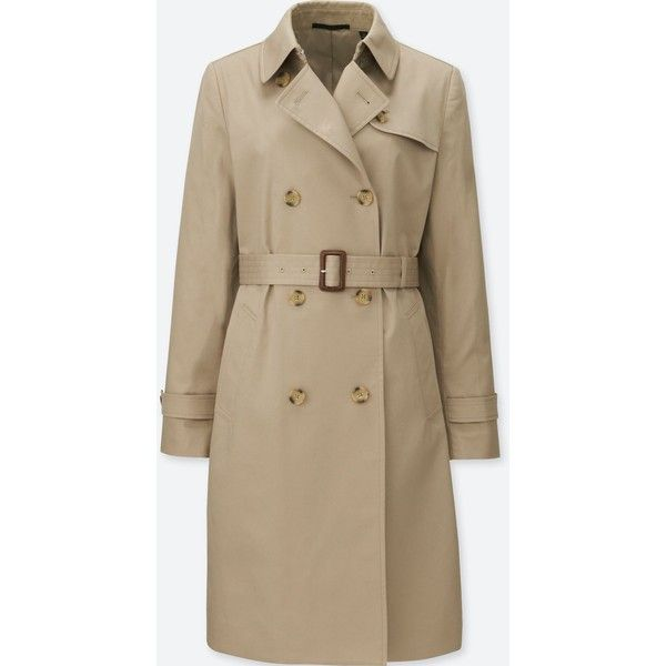 WOMEN TRENCH COAT (5.420 RUB) ❤ liked on Polyvore featuring outerwear, coats, double-breasted trench coat, collar coat, brown coat, uniqlo and double breasted coat