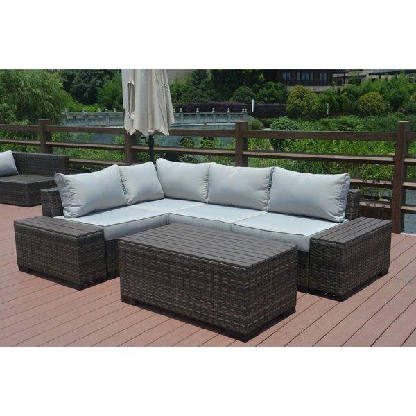 Marlin Outdoor 7 Piece Grey Wicker Sectional Patio Furniture Set