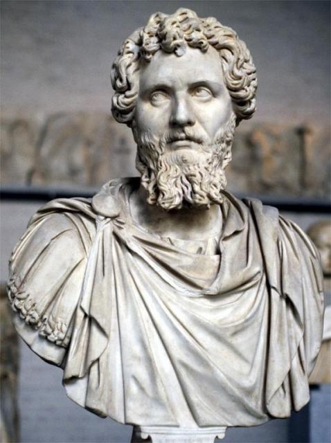 Septimius Severus. Portrait bust of the Emperor. Ca. 193 - 212 AD. Roman Empire. marble. Glyptothek, Munich.