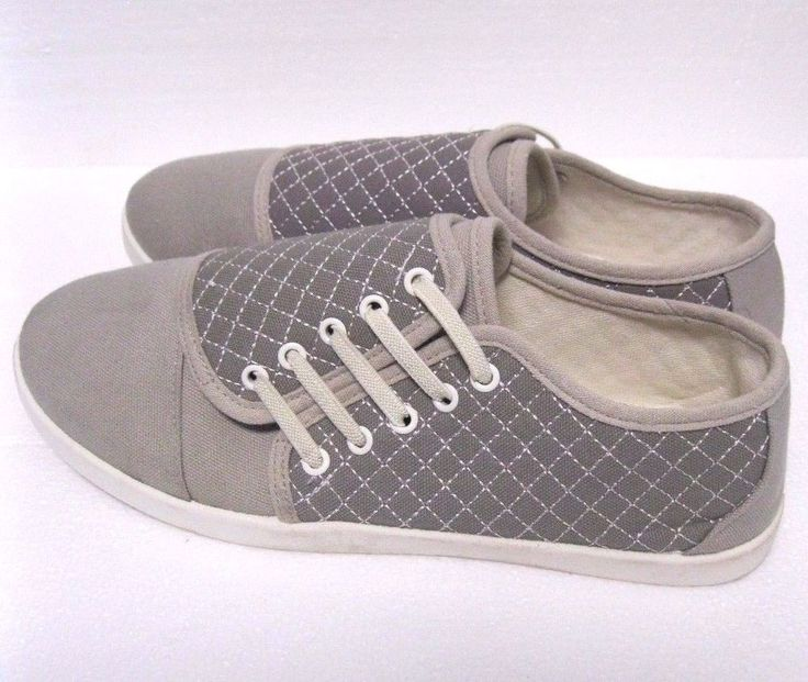 Women's Slip On Tennis Shoes Size 9 Unbranded Grays side Laces #Unbranded #Tennis #casual