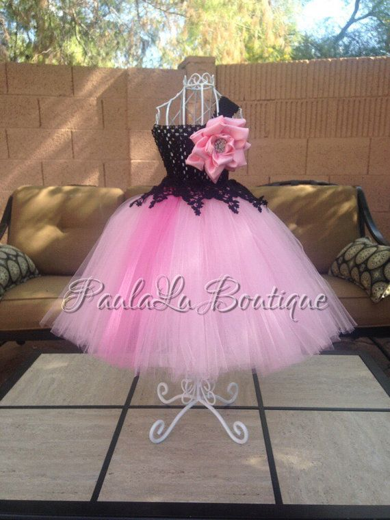 Pink Tutu Dress with Black Lace Flower girl by PaulaLuBoutique