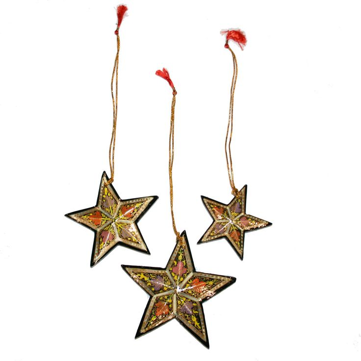 Hand-painted Papier-mâché Christmas Ornaments from India: Stars-pack of 3, Green
