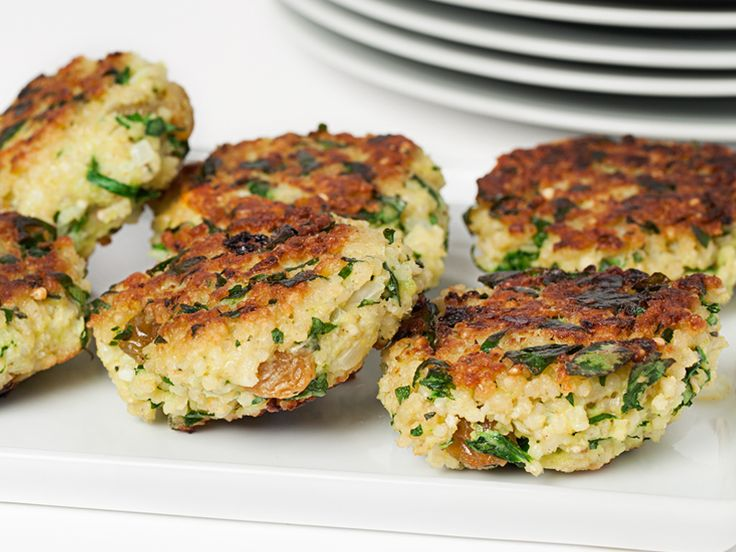 Millet Fritters with Spinach, Feta and Raisins - Skip the raisins to make it Candida Diet friendly