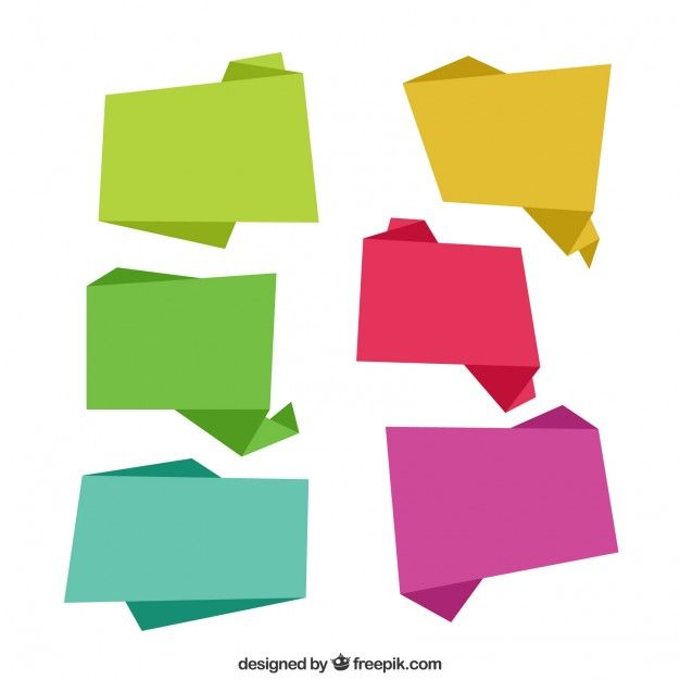 Abstract origami colored speech balloons screenshot