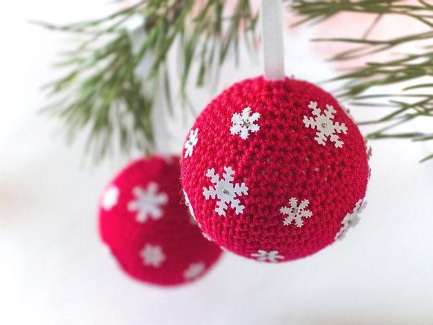 Zestaw 2 bombek na choinkę. - cataneedle - Dekoracje bożonarodzeniowe