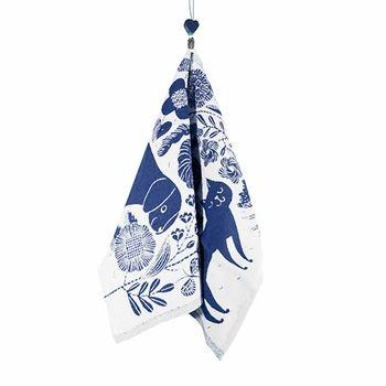 Lapuan Kankurit Koira Ja Kissa Blueberry Tea Towel
