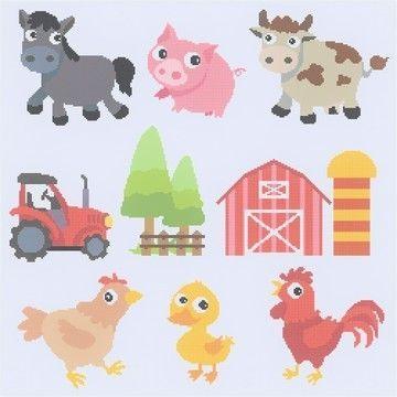 Bauernhof zum Sticken mit Tieren, Scheune und Traktor - Stickdatei via Makerist.de