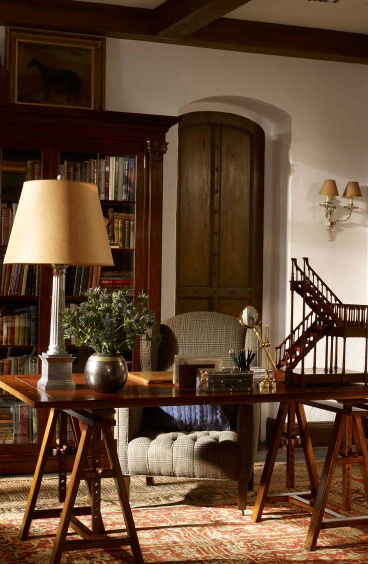 Ralph lauren home collection furniture - Ralph Lauren Home S Brookfield Wing Chair Paired With A Favorite Trestle Desk And Architectural Staircase Invites