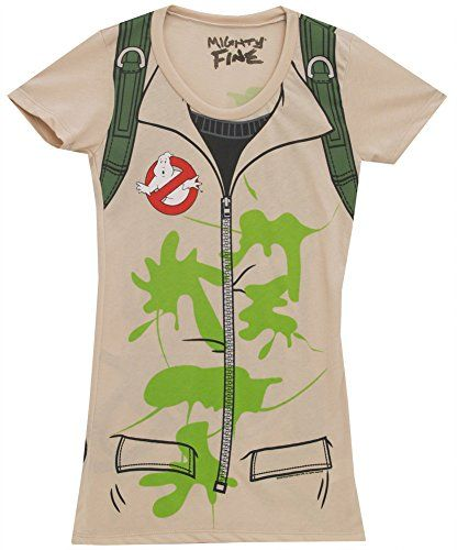 cool Ghostbusters Juniors Tan Backpack print on Back Costume T-Shirt